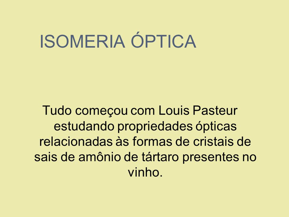 ISOMERIA ÓPTICA Tudo começou com Louis Pasteur estudando propriedades ópticas relacionadas às formas de cristais de sais de amônio de tártaro presente