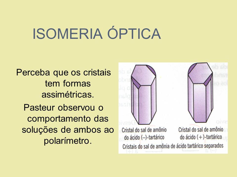 ISOMERIA ÓPTICA Perceba que os cristais tem formas assimétricas. Pasteur observou o comportamento das soluções de ambos ao polarímetro.
