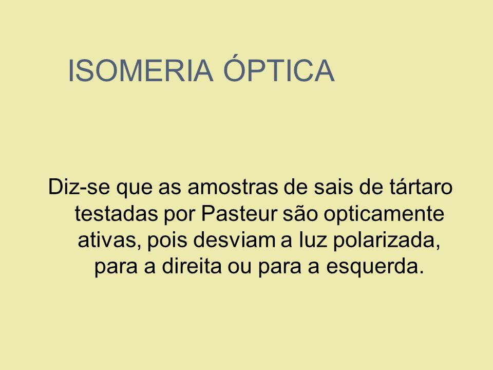 ISOMERIA ÓPTICA Diz-se que as amostras de sais de tártaro testadas por Pasteur são opticamente ativas, pois desviam a luz polarizada, para a direita o