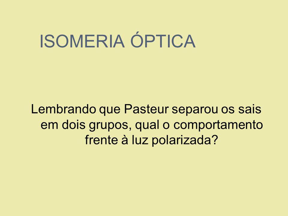 ISOMERIA ÓPTICA Lembrando que Pasteur separou os sais em dois grupos, qual o comportamento frente à luz polarizada?