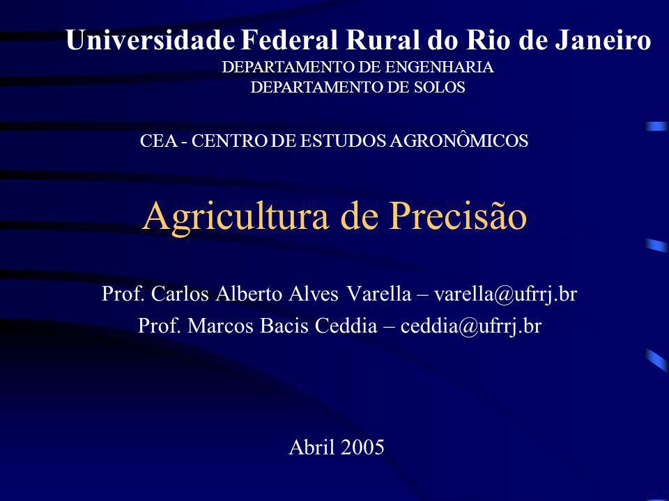 Agricultura de Precisão Prof. Carlos Alberto Alves Varella – varella@ufrrj.br Prof. Marcos Bacis Ceddia – ceddia@ufrrj.br Abril 2005 Universidade Fede
