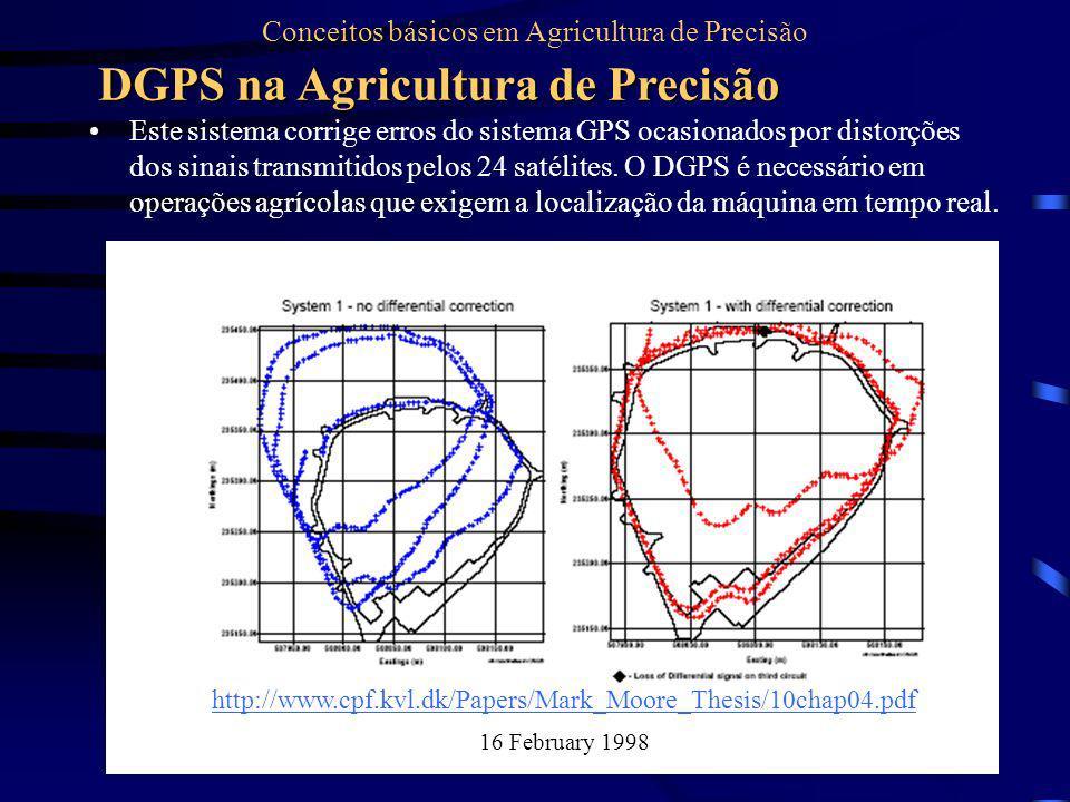 Este sistema corrige erros do sistema GPS ocasionados por distorções dos sinais transmitidos pelos 24 satélites. O DGPS é necessário em operações agrí