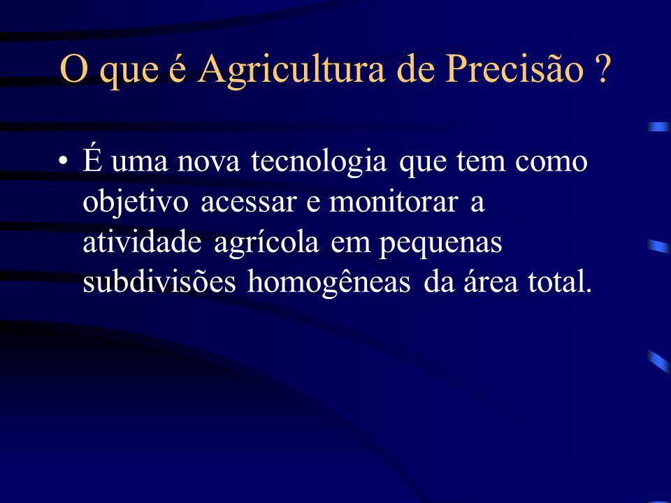 O que é Agricultura de Precisão ? É uma nova tecnologia que tem como objetivo acessar e monitorar a atividade agrícola em pequenas subdivisões homogên