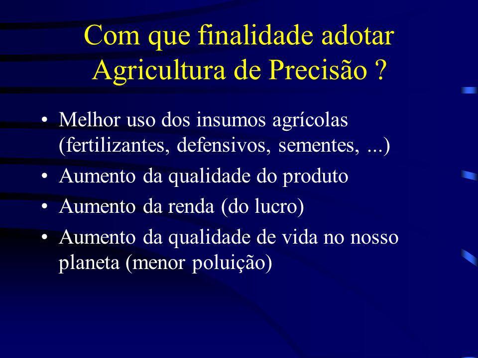 Com que finalidade adotar Agricultura de Precisão ? Melhor uso dos insumos agrícolas (fertilizantes, defensivos, sementes,...) Aumento da qualidade do