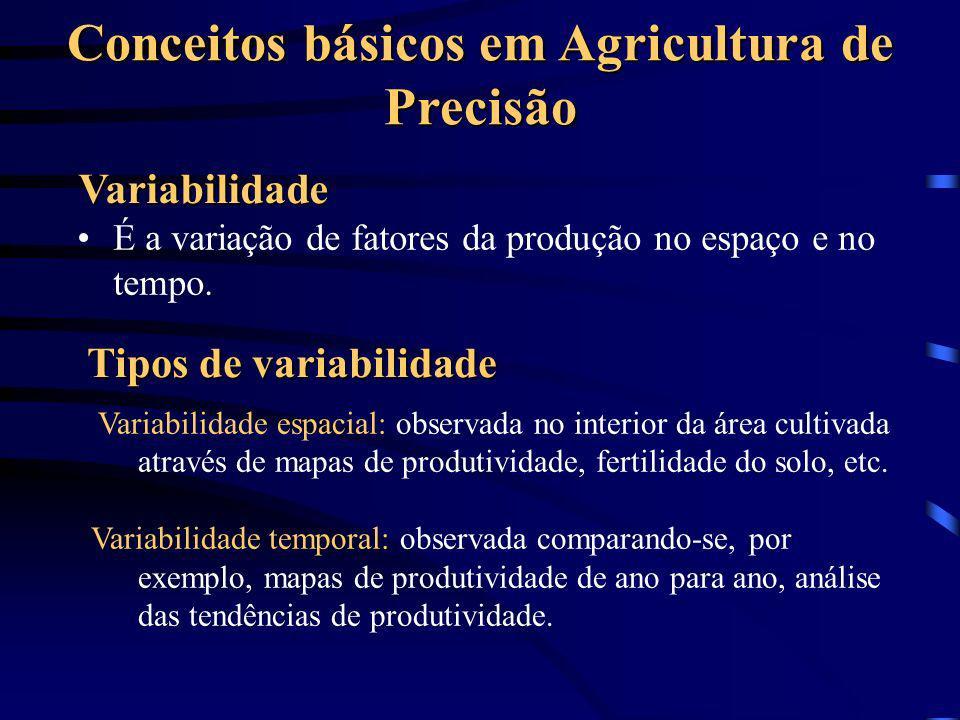 Conceitos básicos em Agricultura de Precisão Variabilidade É a variação de fatores da produção no espaço e no tempo. Tipos de variabilidade Variabilid