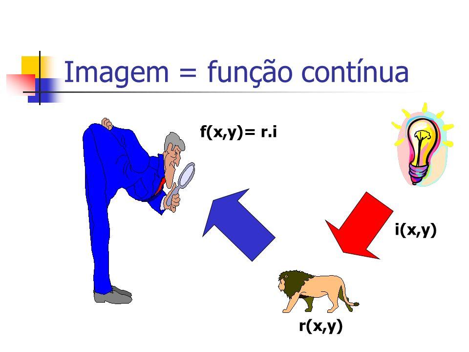 Imagem = função contínua f(x,y) = r(x,y).i(x,y) 0 r(x,y) 1 0 i(x,y) < Iluminância(lux)Reflectância 900 Dia ensolarado0,93 neve 100 Dia nublado0,80 parede branca 10 Iluminação escritório0,85 aço inoxidável 0,001 noite de lua cheia0,01 veludo preto