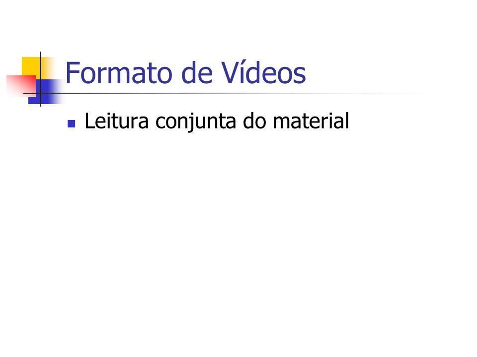 Formato de Vídeos Leitura conjunta do material