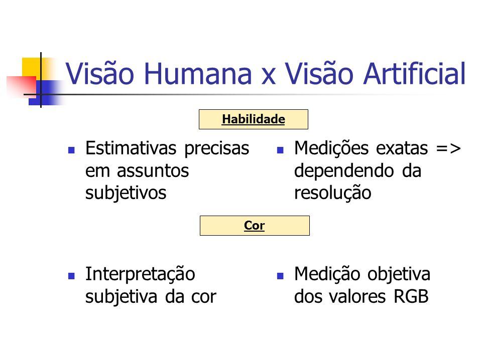 Visão Humana x Visão Artificial Estimativas precisas em assuntos subjetivos Interpretação subjetiva da cor Medições exatas => dependendo da resolução