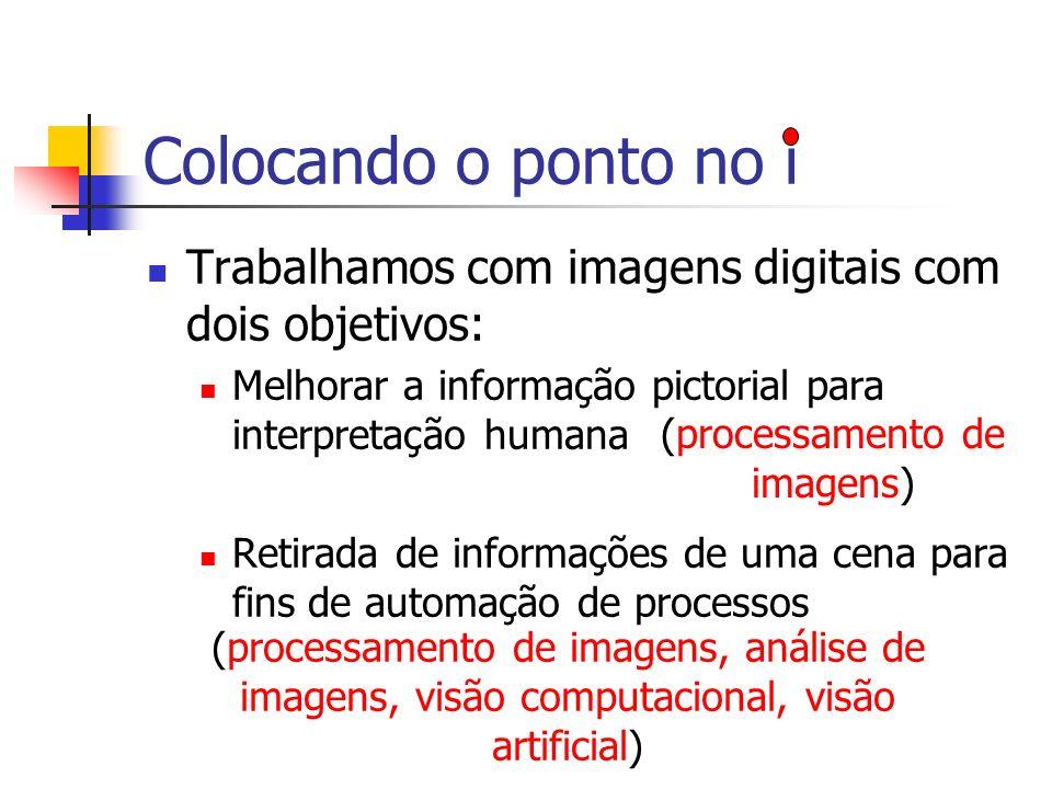 Colocando o ponto no i Trabalhamos com imagens digitais com dois objetivos: Melhorar a informação pictorial para interpretação humana Retirada de info
