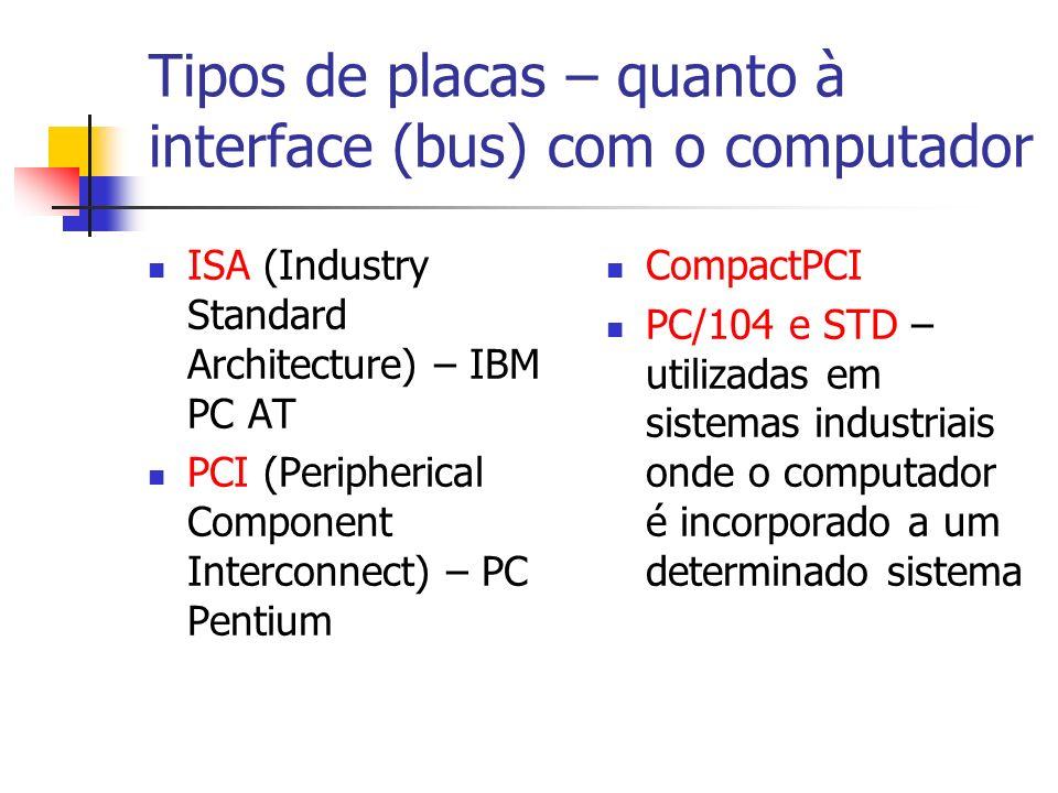 Tipos de placas – quanto à interface (bus) com o computador ISA (Industry Standard Architecture) – IBM PC AT PCI (Peripherical Component Interconnect) – PC Pentium CompactPCI PC/104 e STD – utilizadas em sistemas industriais onde o computador é incorporado a um determinado sistema