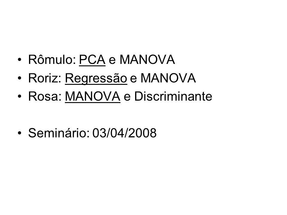 Rômulo: PCA e MANOVA Roriz: Regressão e MANOVA Rosa: MANOVA e Discriminante Seminário: 03/04/2008
