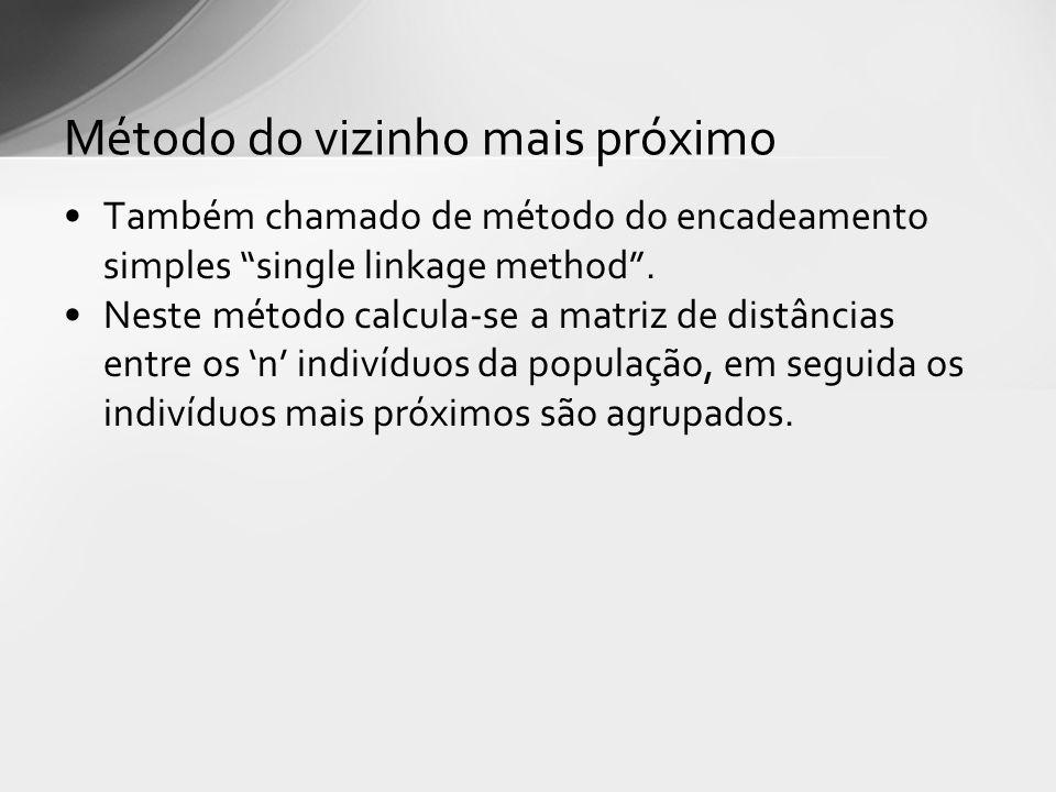 Também chamado de método do encadeamento simples single linkage method. Neste método calcula-se a matriz de distâncias entre os n indivíduos da popula