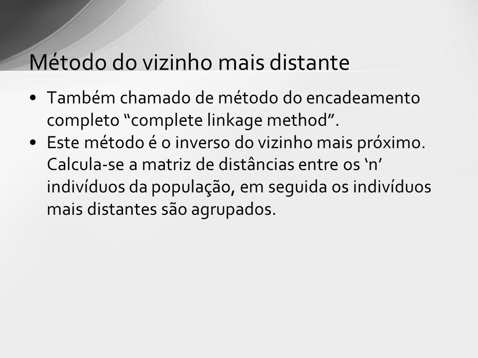 Também chamado de método do encadeamento completo complete linkage method. Este método é o inverso do vizinho mais próximo. Calcula-se a matriz de dis