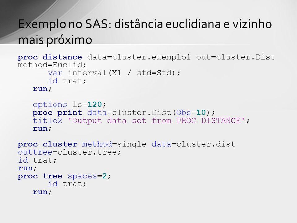 proc distance data=cluster.exemplo1 out=cluster.Dist method=Euclid; var interval(X1 / std=Std); id trat; run; options ls=120; proc print data=cluster.Dist(Obs=10); title2 Output data set from PROC DISTANCE ; run; proc cluster method=single data=cluster.dist outtree=cluster.tree; id trat; run; proc tree spaces=2; id trat; run; Exemplo no SAS: distância euclidiana e vizinho mais próximo