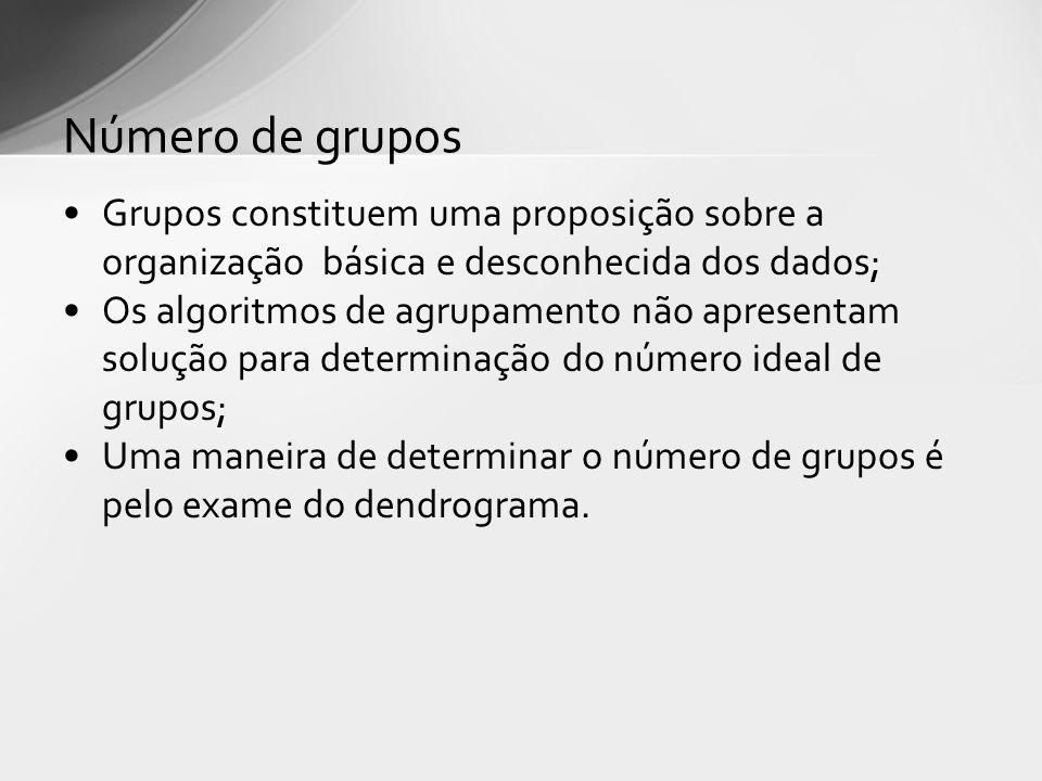 Número de grupos Grupos constituem uma proposição sobre a organização básica e desconhecida dos dados; Os algoritmos de agrupamento não apresentam solução para determinação do número ideal de grupos; Uma maneira de determinar o número de grupos é pelo exame do dendrograma.