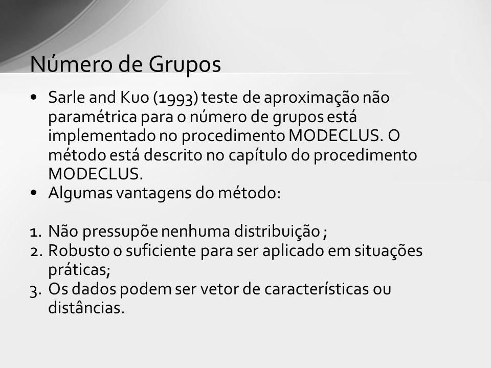 Sarle and Kuo (1993) teste de aproximação não paramétrica para o número de grupos está implementado no procedimento MODECLUS. O método está descrito n