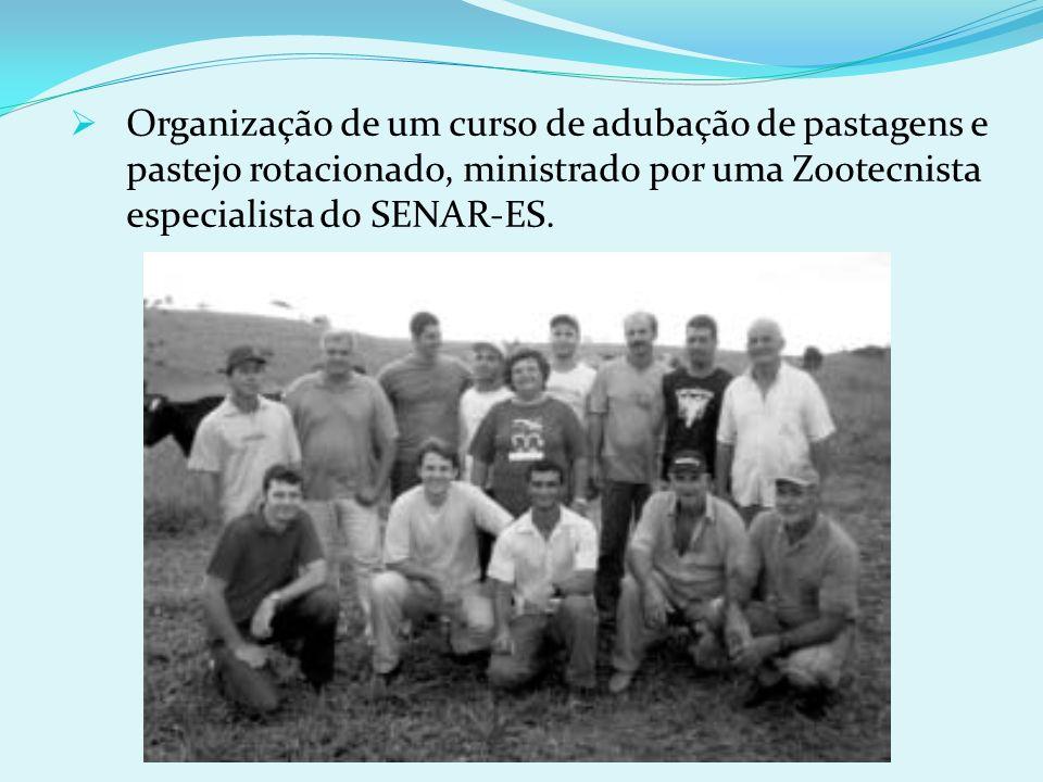 Organização de um curso de adubação de pastagens e pastejo rotacionado, ministrado por uma Zootecnista especialista do SENAR-ES.