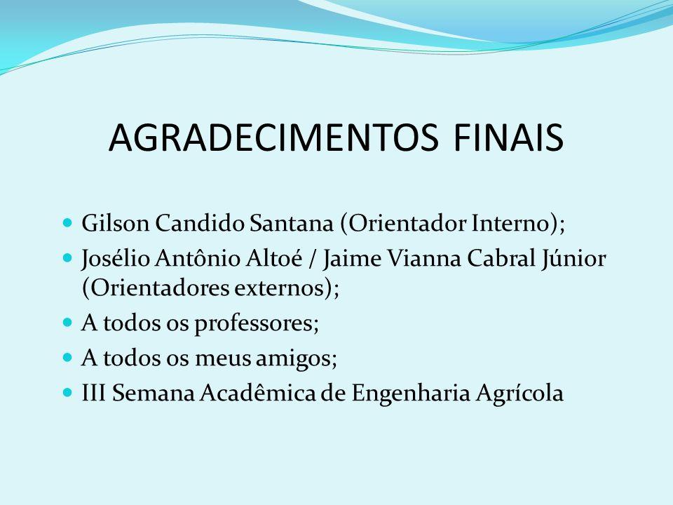 AGRADECIMENTOS FINAIS Gilson Candido Santana (Orientador Interno); Josélio Antônio Altoé / Jaime Vianna Cabral Júnior (Orientadores externos); A todos