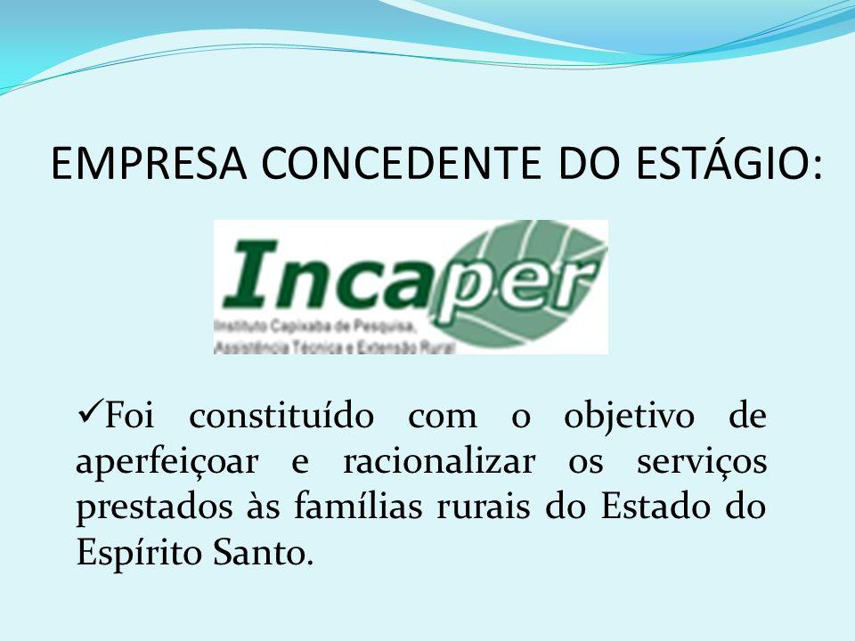 EMPRESA CONCEDENTE DO ESTÁGIO: Foi constituído com o objetivo de aperfeiçoar e racionalizar os serviços prestados às famílias rurais do Estado do Espí