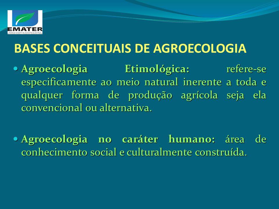 BASES CONCEITUAIS DE AGROECOLOGIA Agroecologia Etimológica: refere-se especificamente ao meio natural inerente a toda e qualquer forma de produção agr