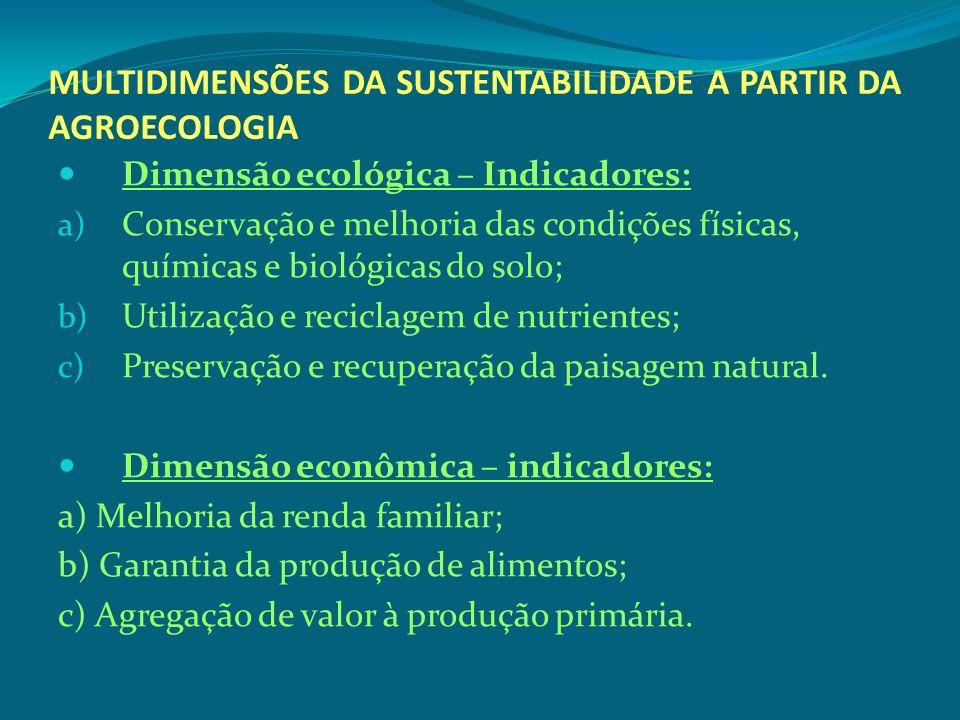 MULTIDIMENSÕES DA SUSTENTABILIDADE A PARTIR DA AGROECOLOGIA Dimensão ecológica – Indicadores: a) Conservação e melhoria das condições físicas, química
