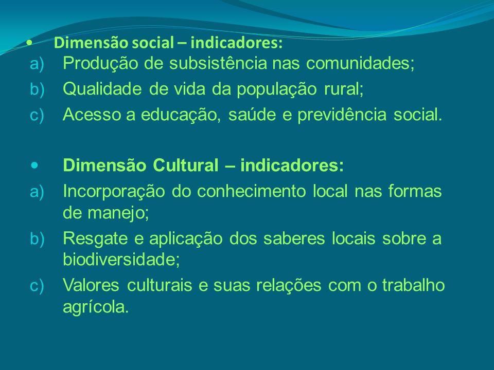 Dimensão social – indicadores: a) Produção de subsistência nas comunidades; b) Qualidade de vida da população rural; c) Acesso a educação, saúde e pre
