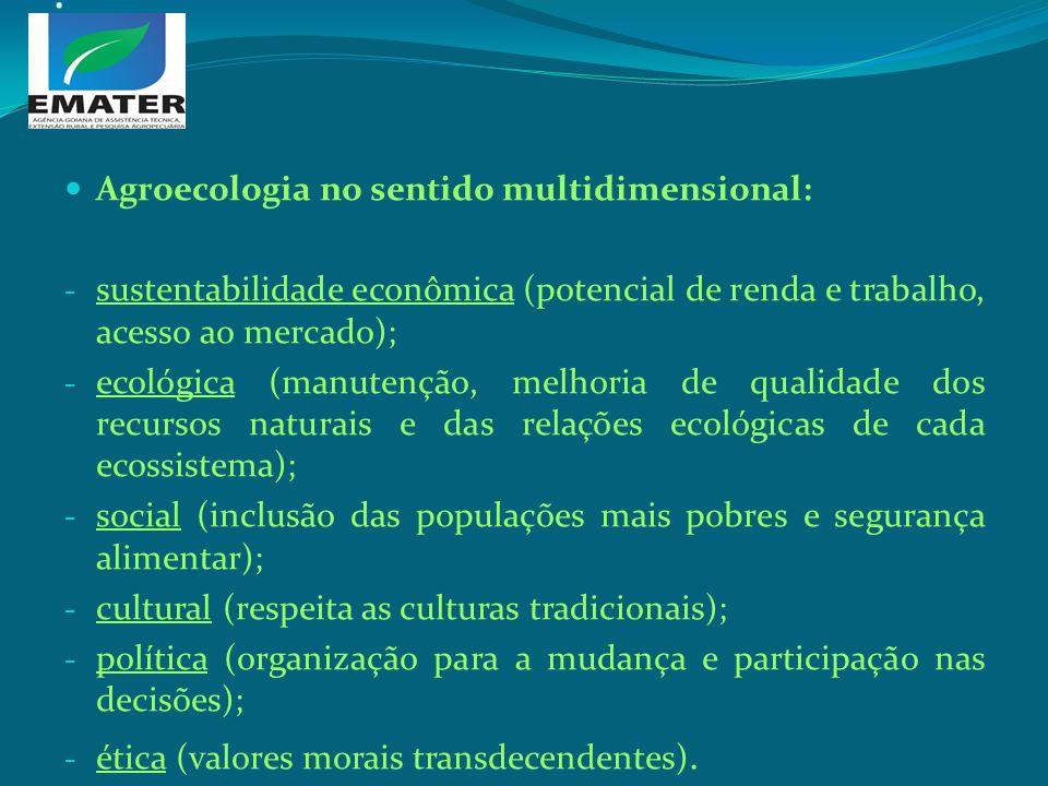 . Agroecologia no sentido multidimensional: - sustentabilidade econômica (potencial de renda e trabalho, acesso ao mercado); - ecológica (manutenção,