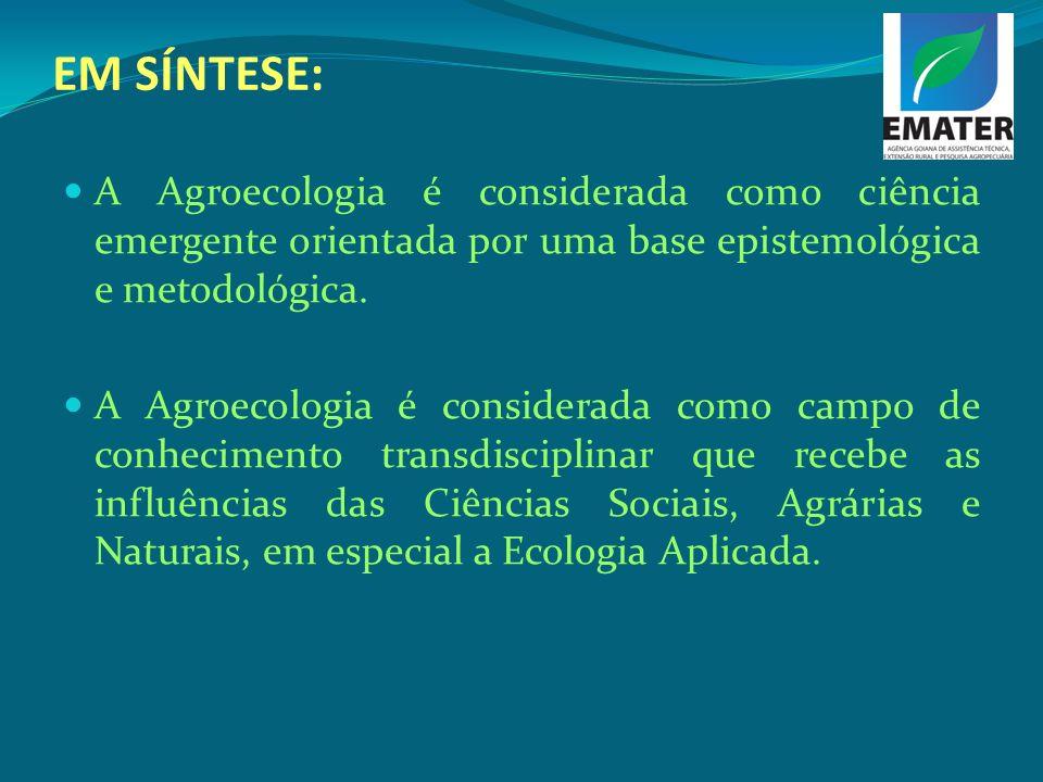 EM SÍNTESE: A Agroecologia é considerada como ciência emergente orientada por uma base epistemológica e metodológica. A Agroecologia é considerada com