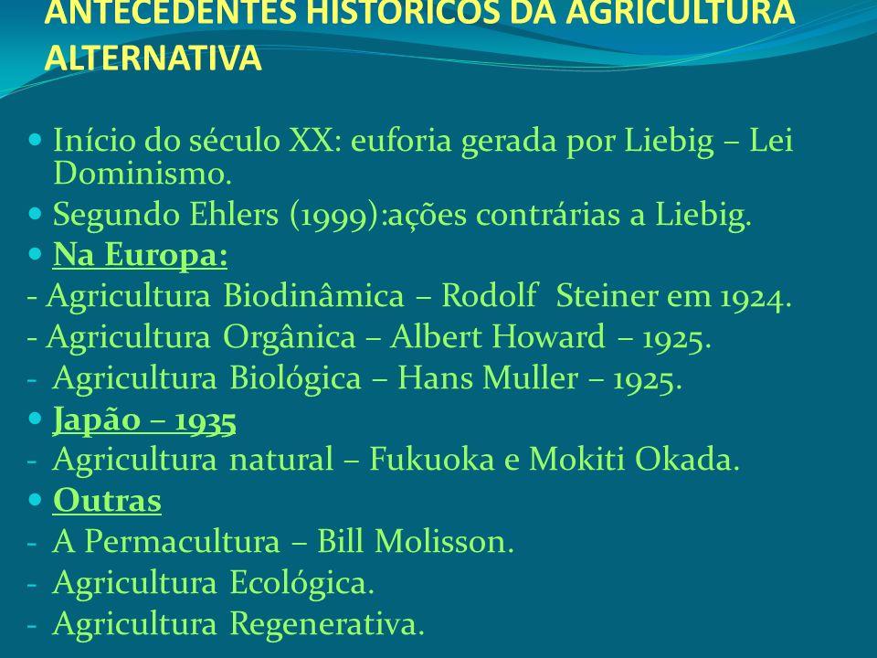 ANTECEDENTES HISTÓRICOS DA AGRICULTURA ALTERNATIVA Início do século XX: euforia gerada por Liebig – Lei Dominismo. Segundo Ehlers (1999):ações contrár