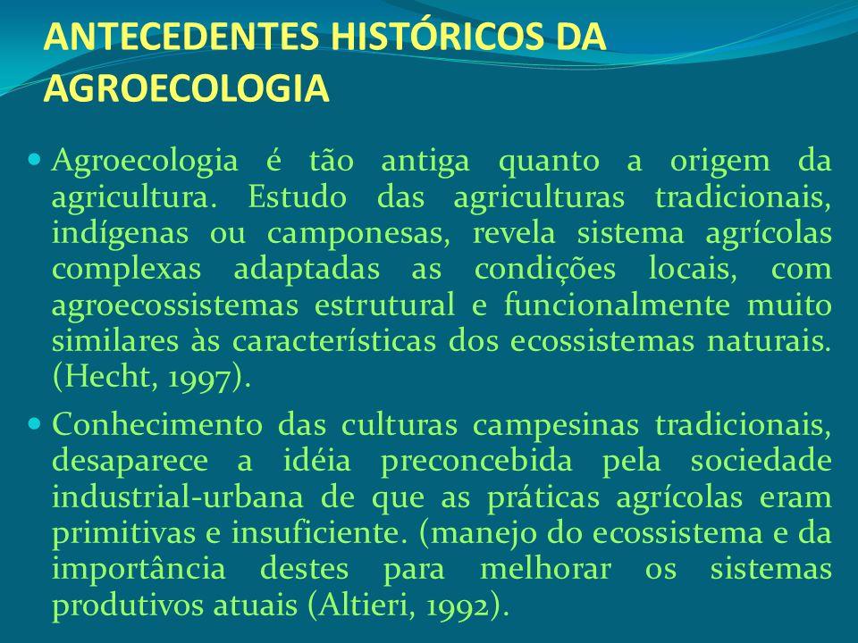 ANTECEDENTES HISTÓRICOS DA AGROECOLOGIA Agroecologia é tão antiga quanto a origem da agricultura. Estudo das agriculturas tradicionais, indígenas ou c