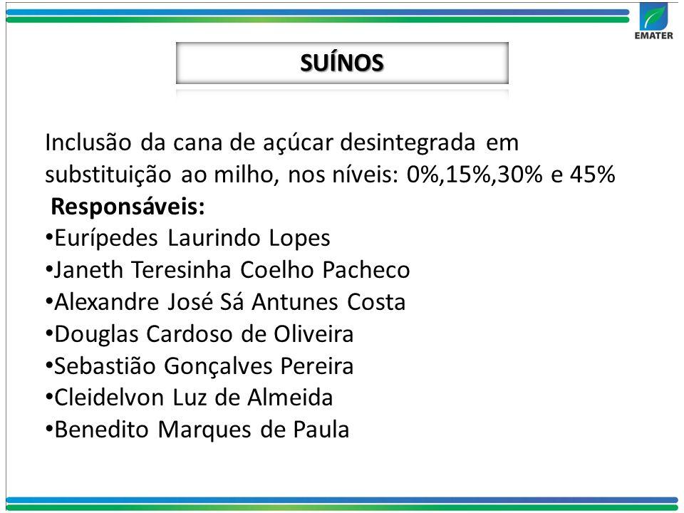 Inclusão da cana de açúcar desintegrada em substituição ao milho, nos níveis: 0%,15%,30% e 45% Responsáveis: Eurípedes Laurindo Lopes Janeth Teresinha