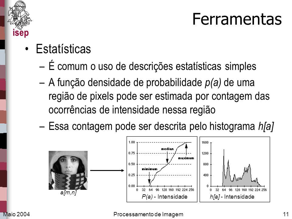 isep Maio 2004Processamento de Imagem11 Ferramentas Estatísticas –É comum o uso de descrições estatísticas simples –A função densidade de probabilidad