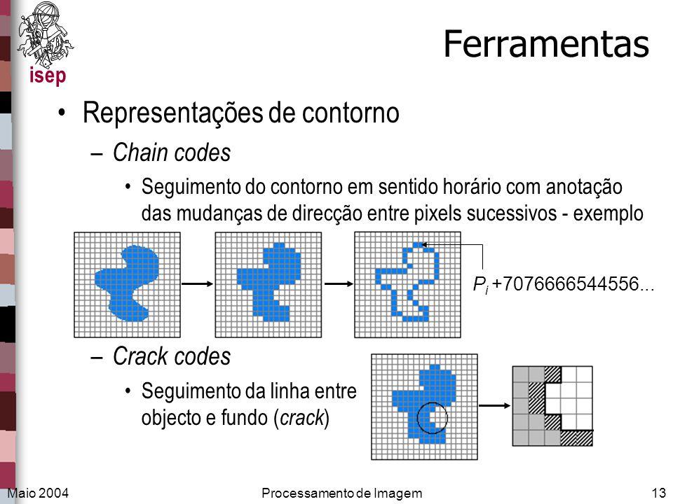 isep Maio 2004Processamento de Imagem13 Ferramentas Representações de contorno – Chain codes Seguimento do contorno em sentido horário com anotação da