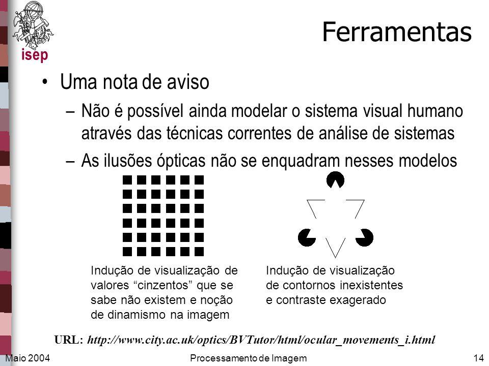 isep Maio 2004Processamento de Imagem14 Ferramentas Uma nota de aviso –Não é possível ainda modelar o sistema visual humano através das técnicas corre