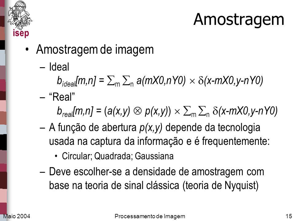 isep Maio 2004Processamento de Imagem15 Amostragem Amostragem de imagem –Ideal b ideal [m,n] = m n a(mX0,nY0) (x-mX0,y-nY0) –Real b real [m,n] = ( a(x