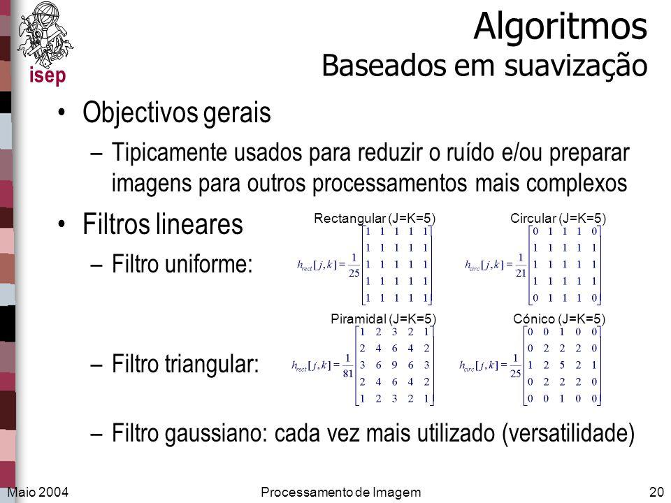isep Maio 2004Processamento de Imagem20 Algoritmos Baseados em suavização Objectivos gerais –Tipicamente usados para reduzir o ruído e/ou preparar ima