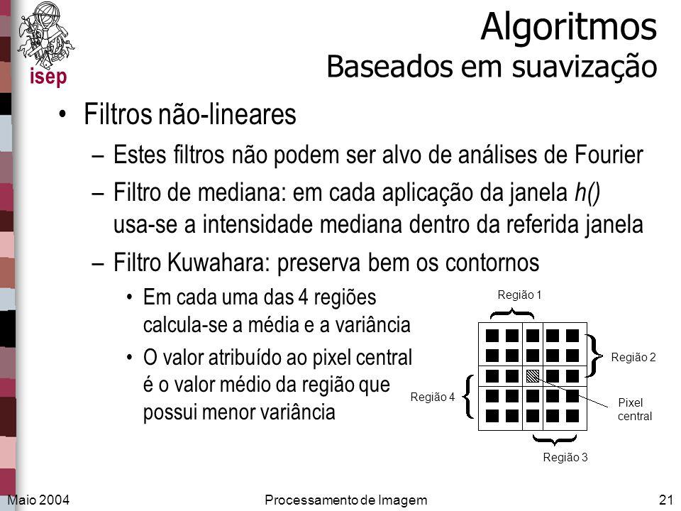 isep Maio 2004Processamento de Imagem21 Algoritmos Baseados em suavização Filtros não-lineares –Estes filtros não podem ser alvo de análises de Fourie