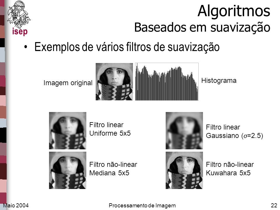 isep Maio 2004Processamento de Imagem22 Algoritmos Baseados em suavização Exemplos de vários filtros de suavização Imagem original Filtro linear Unifo