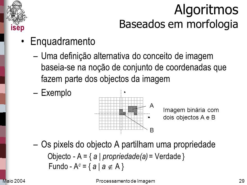 isep Maio 2004Processamento de Imagem29 Algoritmos Baseados em morfologia Enquadramento –Uma definição alternativa do conceito de imagem baseia-se na