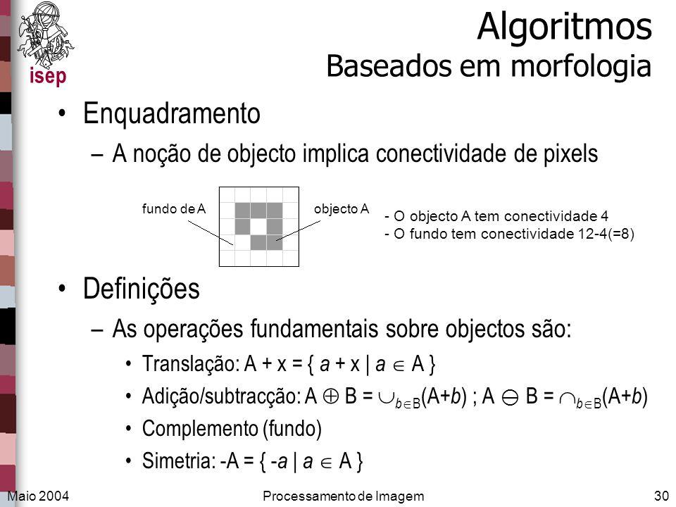 isep Maio 2004Processamento de Imagem30 Algoritmos Baseados em morfologia Enquadramento –A noção de objecto implica conectividade de pixels Definições