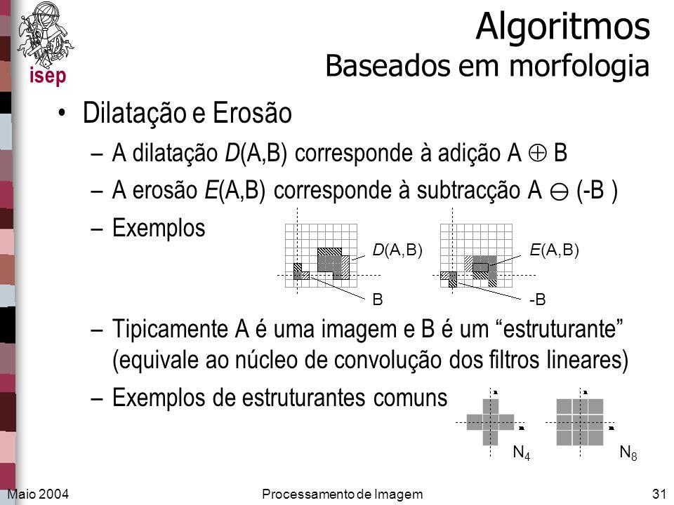 isep Maio 2004Processamento de Imagem31 Algoritmos Baseados em morfologia Dilatação e Erosão –A dilatação D (A,B) corresponde à adição A B –A erosão E
