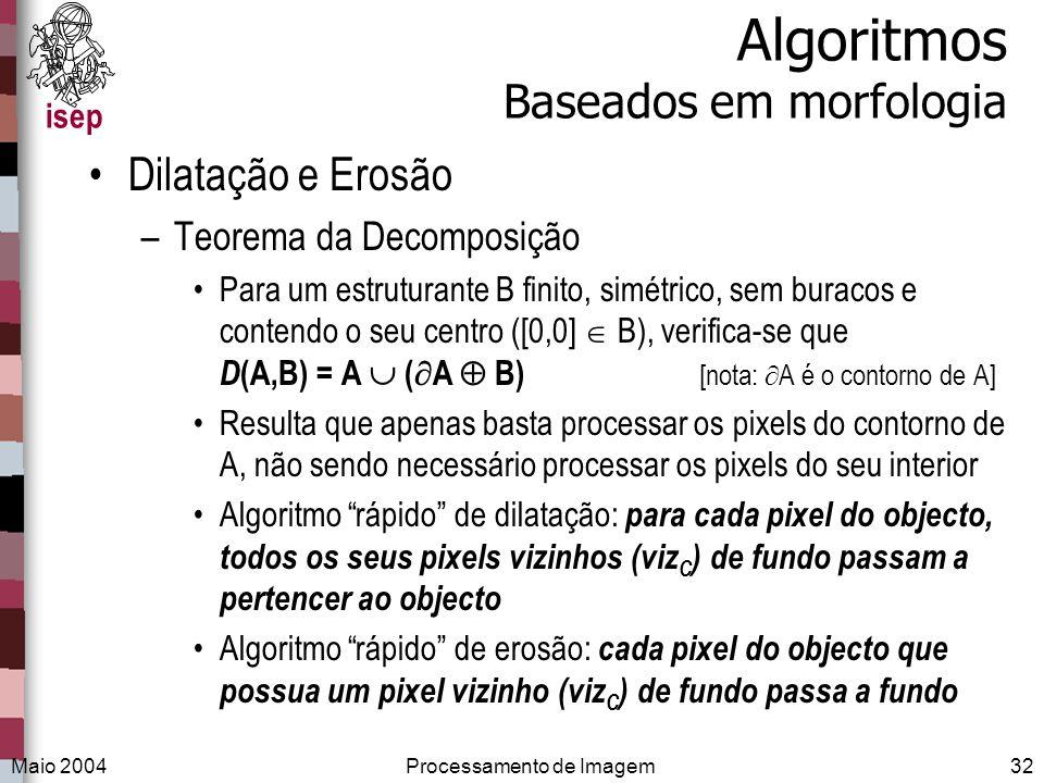 isep Maio 2004Processamento de Imagem32 Algoritmos Baseados em morfologia Dilatação e Erosão –Teorema da Decomposição Para um estruturante B finito, s