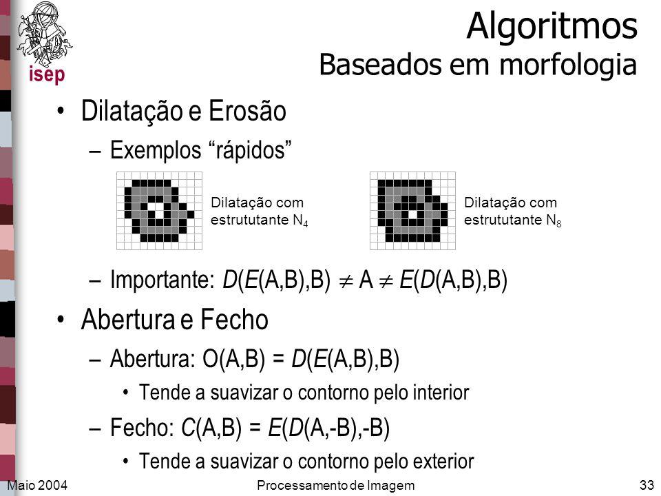 isep Maio 2004Processamento de Imagem33 Algoritmos Baseados em morfologia Dilatação e Erosão –Exemplos rápidos –Importante: D ( E (A,B),B) A E ( D (A,