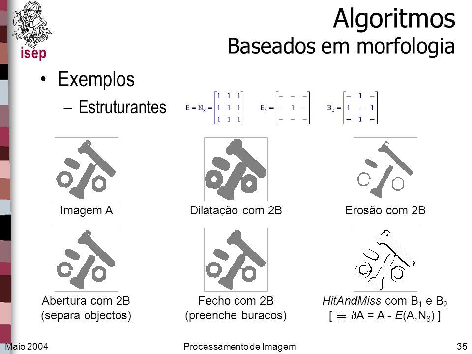 isep Maio 2004Processamento de Imagem35 Algoritmos Baseados em morfologia Exemplos –Estruturantes Imagem ADilatação com 2BErosão com 2BAbertura com 2B