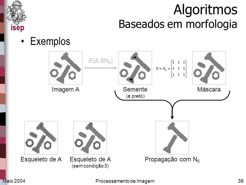 isep Maio 2004Processamento de Imagem38 Algoritmos Baseados em morfologia Exemplos E(A,6N 8 ) Imagem AEsqueleto de AEsqueleto de A (sem condição 3) Pr