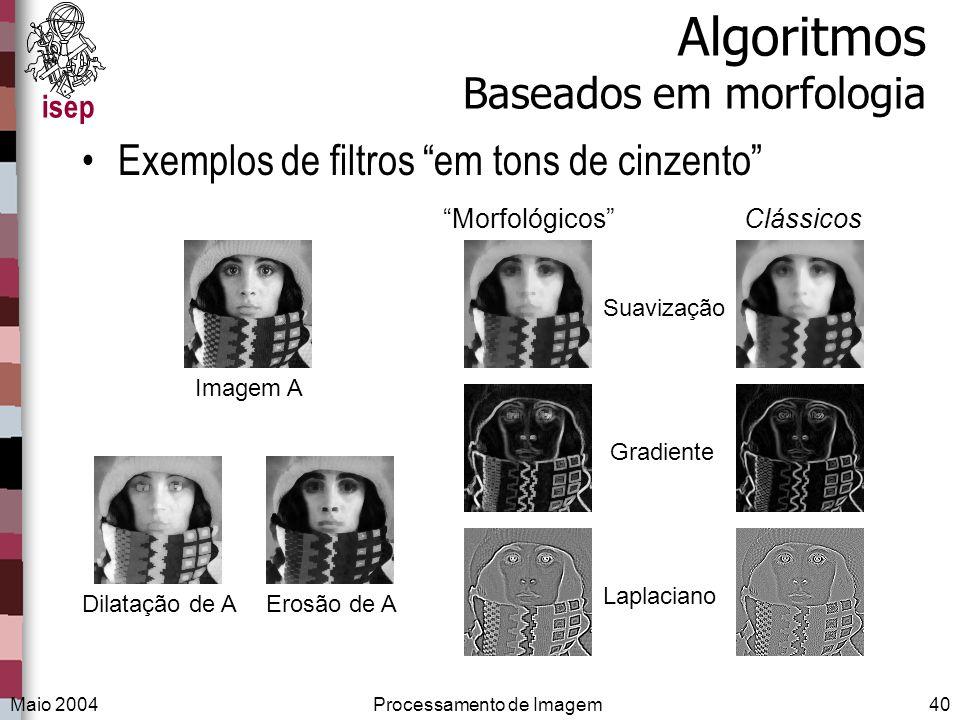 isep Maio 2004Processamento de Imagem40 Algoritmos Baseados em morfologia Exemplos de filtros em tons de cinzento ClássicosMorfológicos Suavização Gra