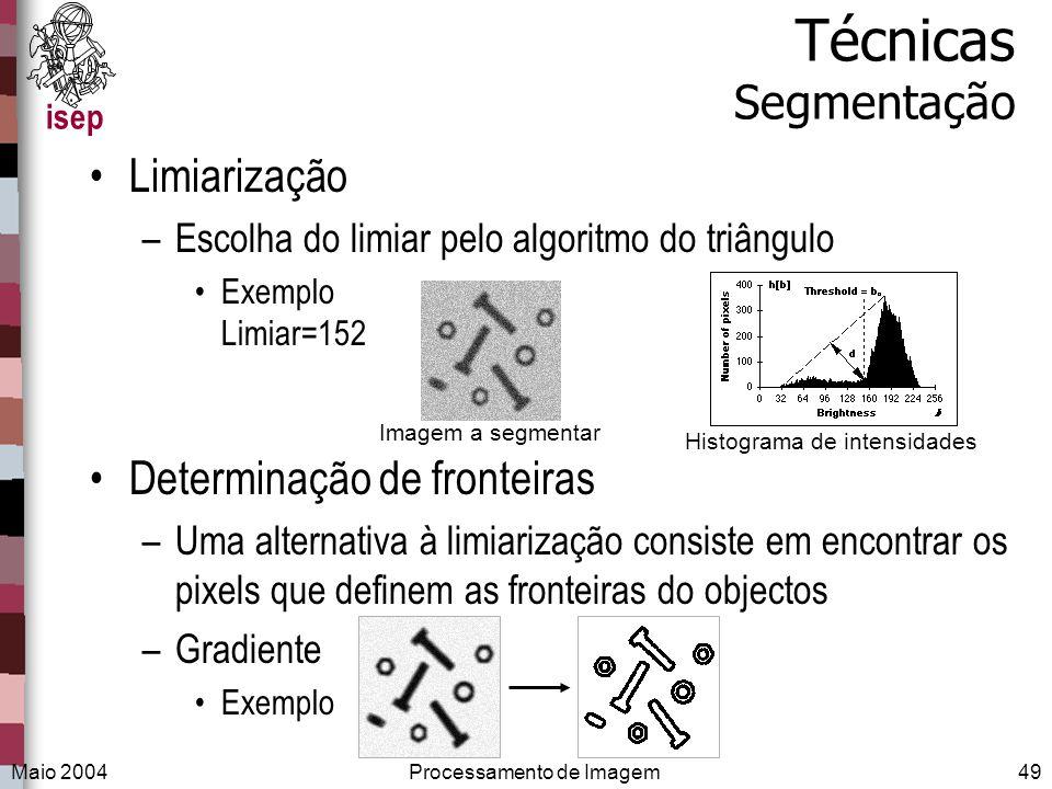 isep Maio 2004Processamento de Imagem49 Técnicas Segmentação Limiarização –Escolha do limiar pelo algoritmo do triângulo Exemplo Limiar=152 Determinaç