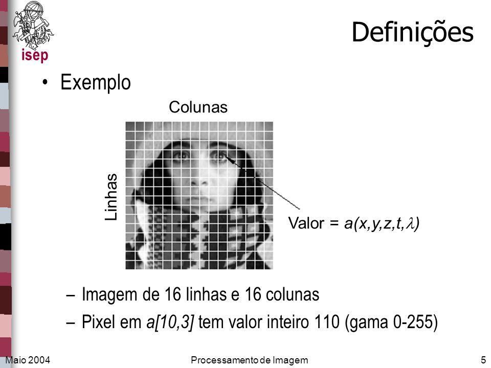 isep Maio 2004Processamento de Imagem5 Definições Exemplo –Imagem de 16 linhas e 16 colunas –Pixel em a[10,3] tem valor inteiro 110 (gama 0-255) Valor