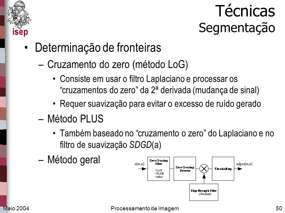 isep Maio 2004Processamento de Imagem50 Técnicas Segmentação Determinação de fronteiras –Cruzamento do zero (método LoG) Consiste em usar o filtro Lap