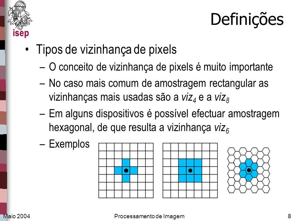 isep Maio 2004Processamento de Imagem8 Definições Tipos de vizinhança de pixels –O conceito de vizinhança de pixels é muito importante –No caso mais c